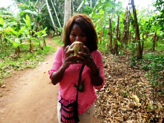 Drinking coconut water in Zanzibar Spice Farm | The Girl Next Door is Black
