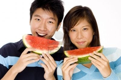 Look at that, Asians eat watermelon too!