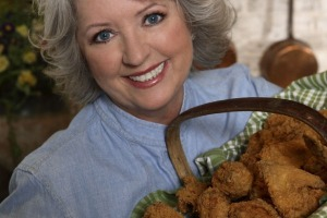 Paula Deen with fried chicken, not a black woman, by the way