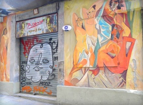 """A tapas bar named after the famous Spanish painter, Picasso, using the image of his painting """"Les Demoiselles d'Avignon"""" inspired by Avinyo Street in Barcelona."""