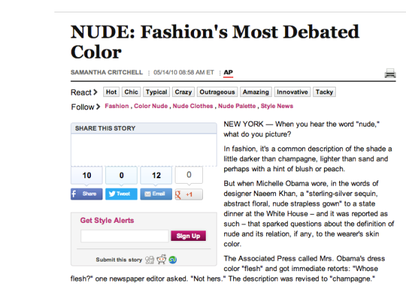 """The fashion industry loves to use the words """"nude"""" and """"flesh"""" as colors."""