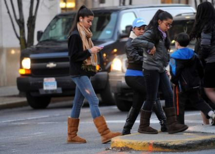 At least pay attention while crossing a street!  Photo cr: Lindsay Niegelberg, ctpost.com